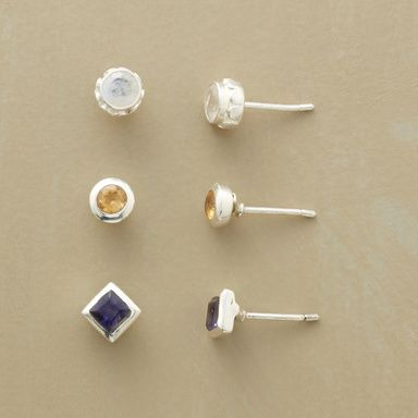 LES VACANCES EARRING TRIO, SET OF 3--Rainbow moonstone, sunny citrine and blue sky iolite, neatly set in sterling silver bezels. Exclusive. Set of 3