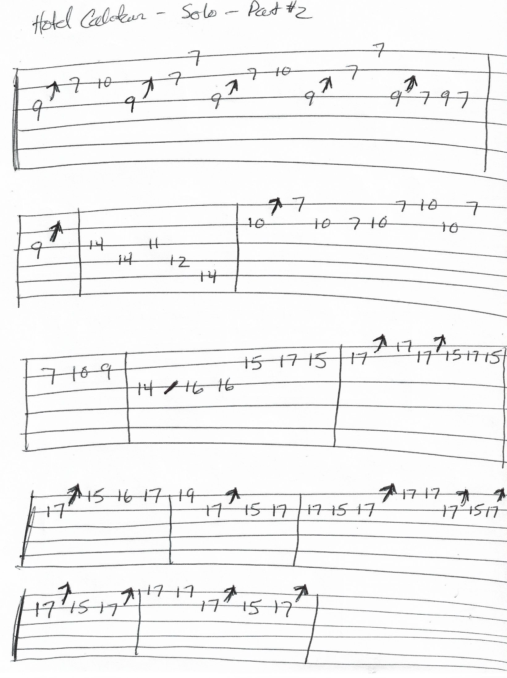 Hotel California Solo Guitar Tab Part 2 With Images