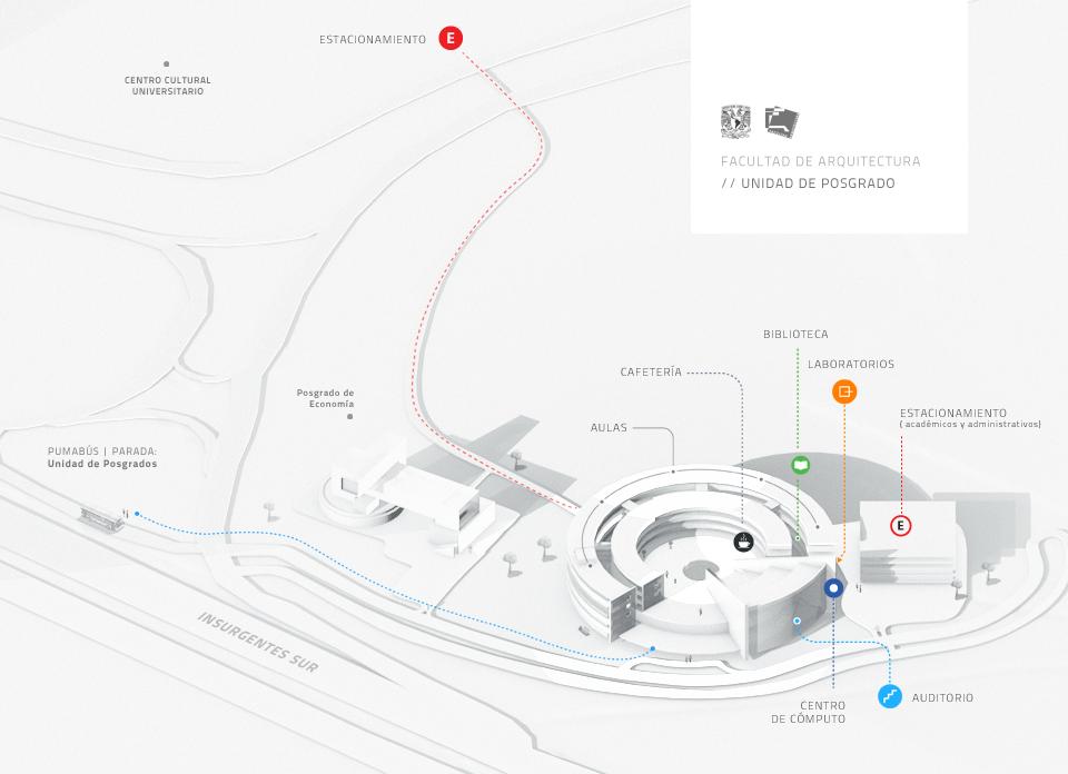 """Mapa del Posgrado de la Facultad de Arquitectura-UNAM.  Lugar donde se llevará a cabo el 2o Congreso Iberoemericano """"Smart City"""""""