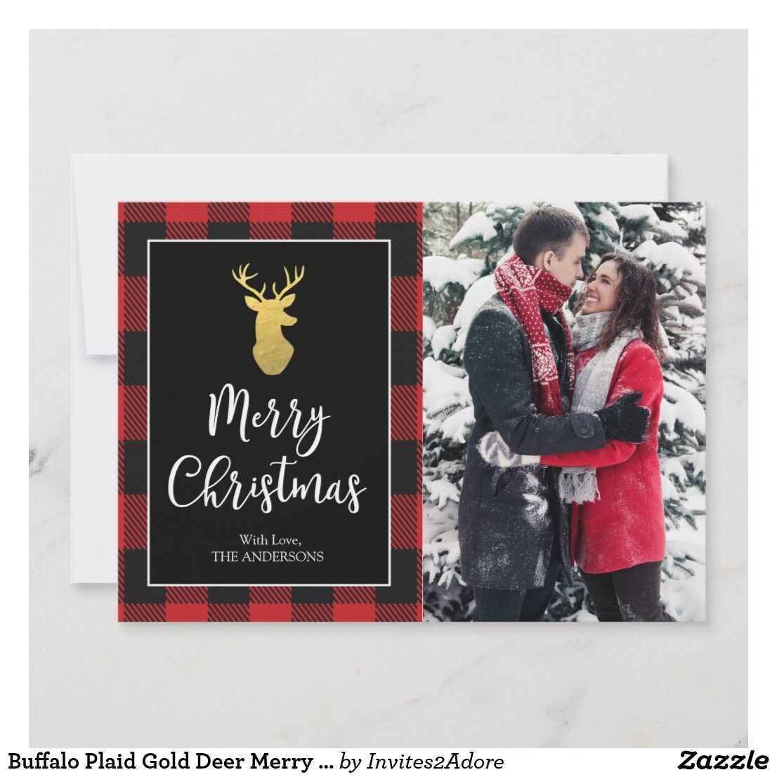 Buffalo plaid gold deer merry christmas photo card