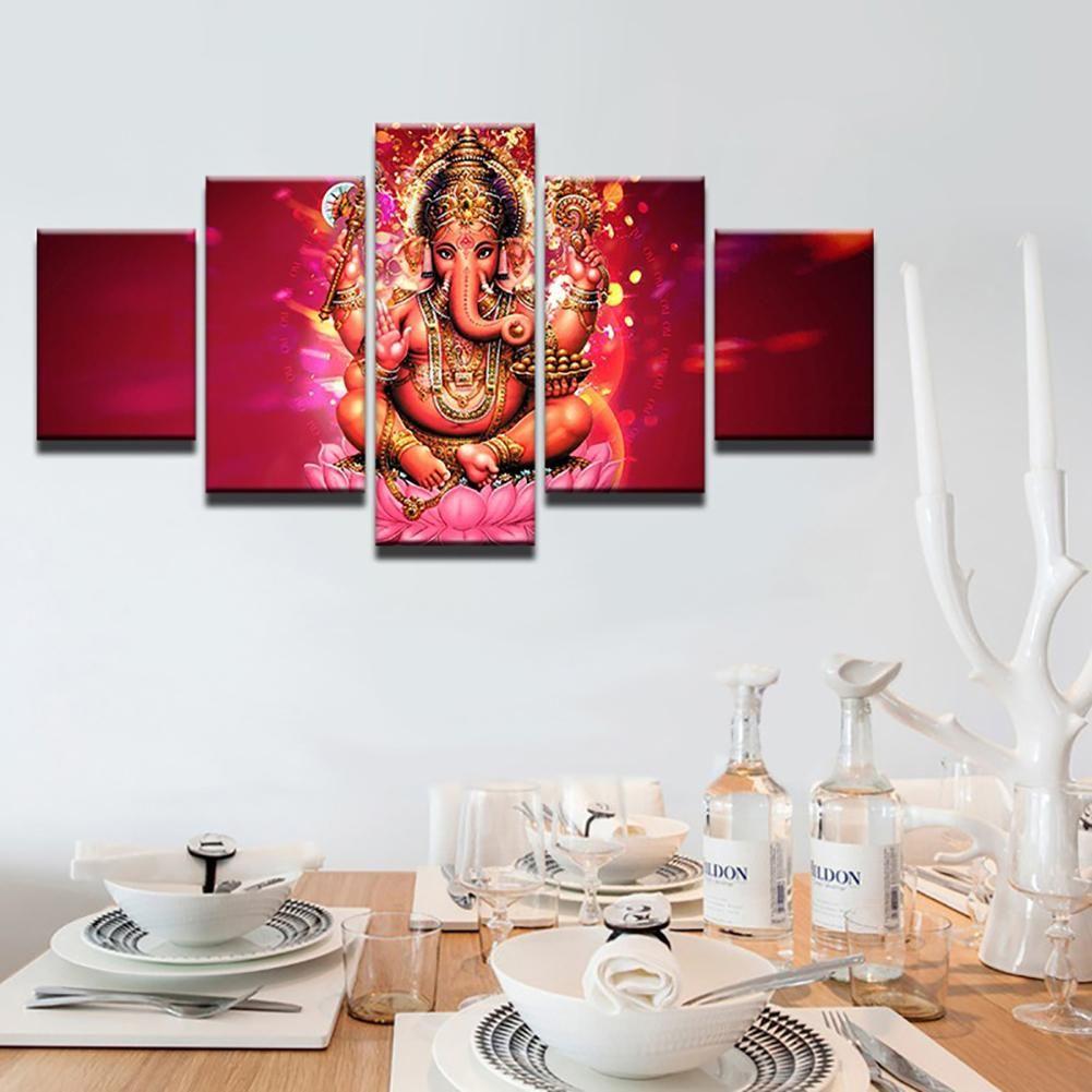 5Pcs Elephant God Ganesha Drucken Bilder Malen Wandkunst Home Decoration – wie das Bild e