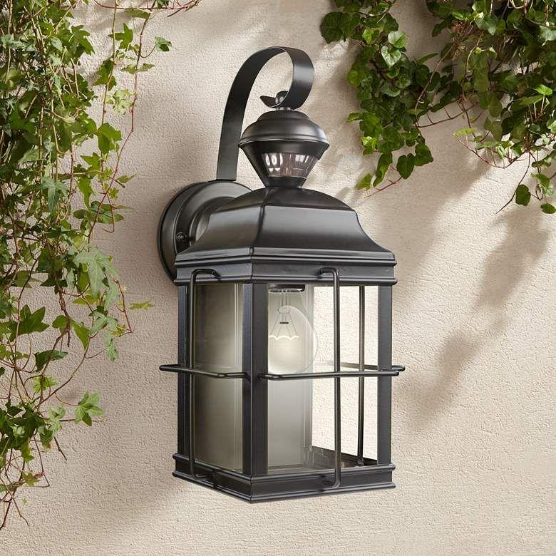 Crista 14 3 4 High Black Motion Sensor Outdoor Wall Light 35p29 Lamps Plus In 2021 Outdoor Wall Lighting Outdoor Walls Wall Lights