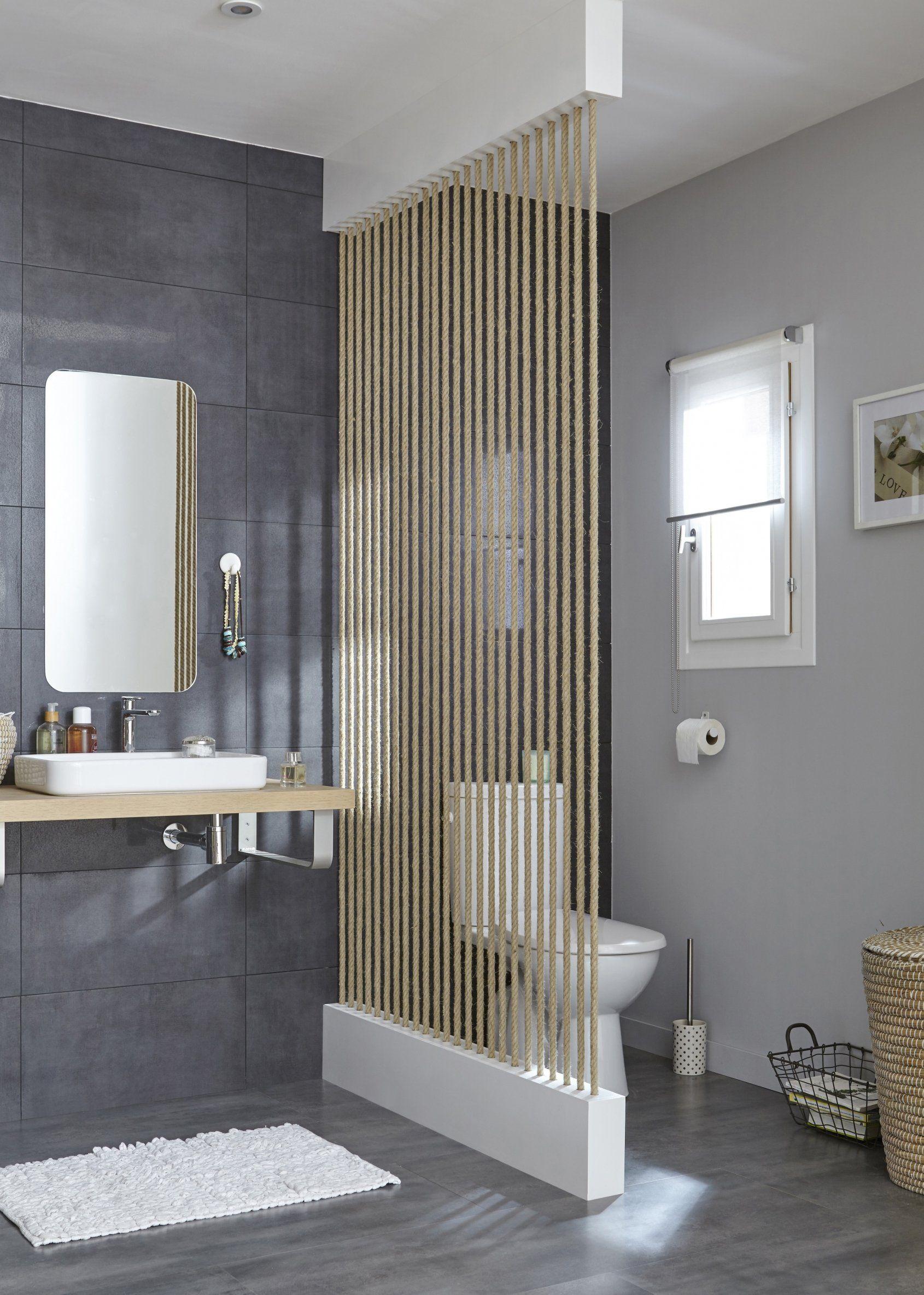 des cordes pour séparer les wc de la salle de bains | salle de ... - Paravent Pour Salle De Bain