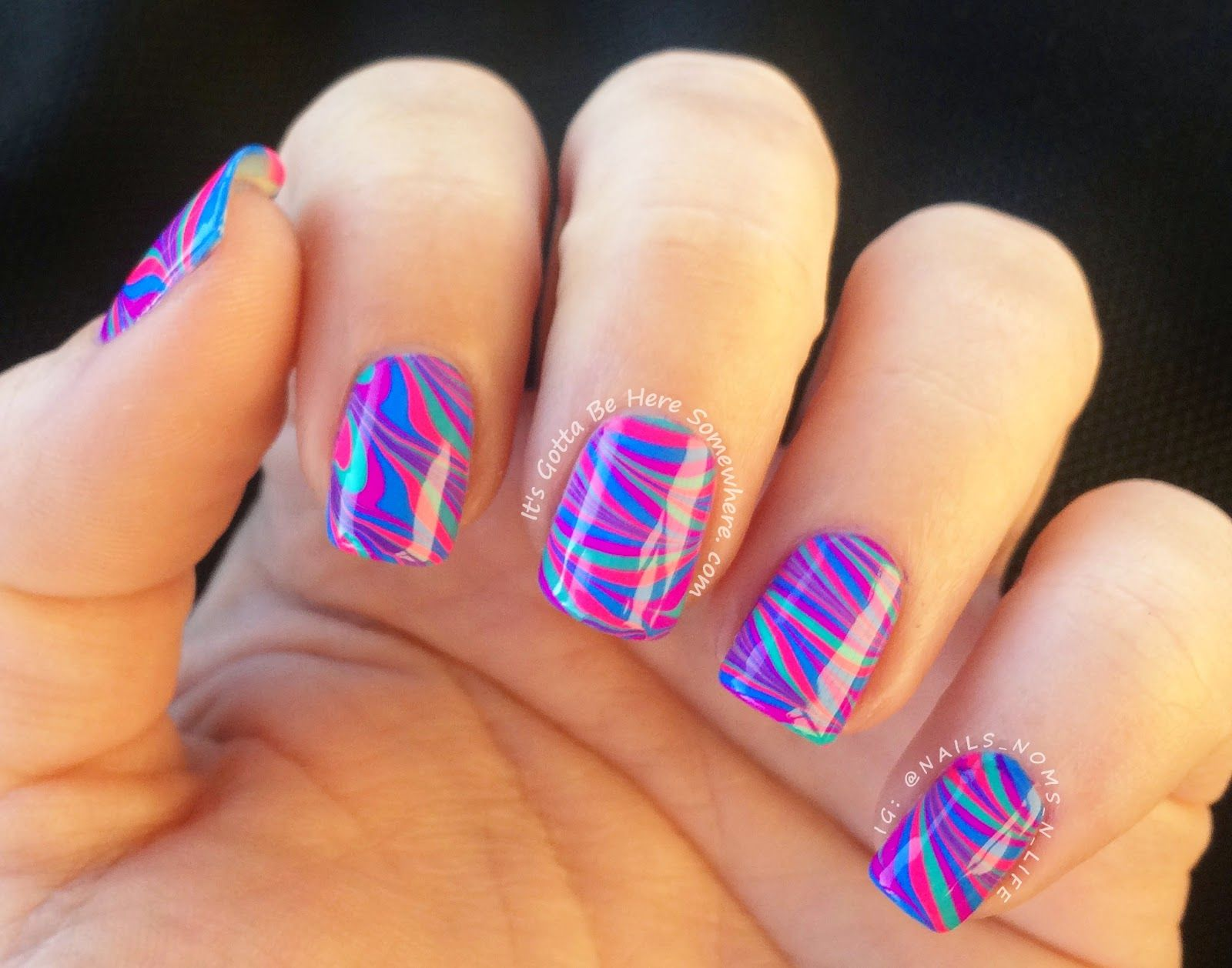 In between holidays mani, Neon water marble nails using Pipe Dream ...