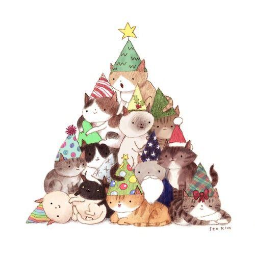 Finding Neverland Cat Christmas Tree Christmas Cats Christmas Tree Art