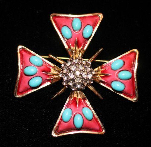 Beautiful Large Vintage Original by Robert Glass Faux Semi Precious Stone  Maltese Cross Brooch