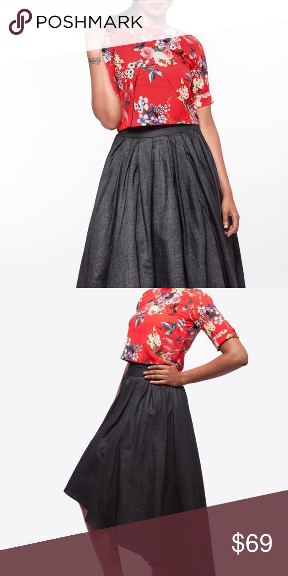 50d56797e4 Gracia Hi-Lo Love Skirt This hi-low dark denim chambray skirt gives you