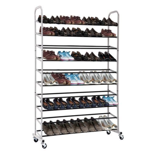 Bon Rolling Shoe Tiers Free Standing 50 Pairs Shoe Tower Storage Organizer With  Sturdy Rolling Wheels
