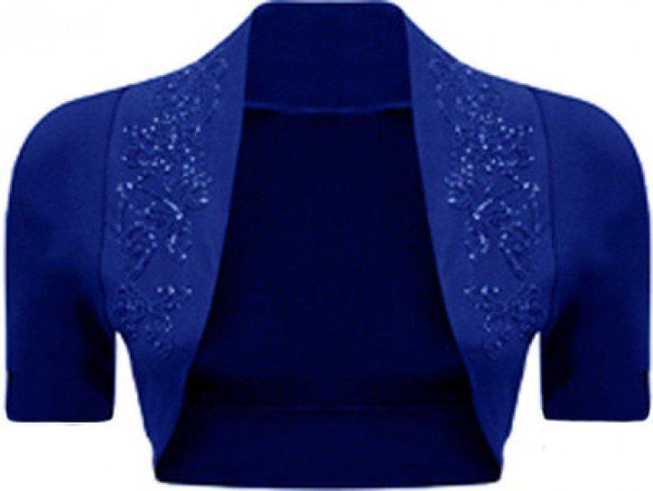 Ladies Long Sleeve Shrug Womens Bolero Cardigan Top 12-14, Royal Blue M//L