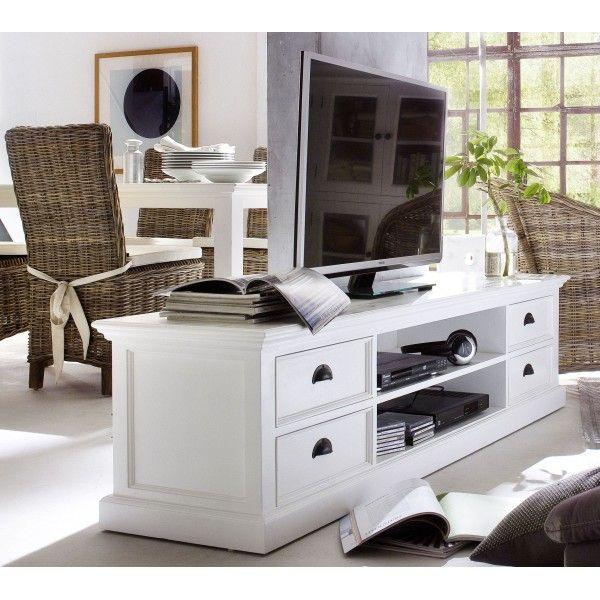 Meuble Tv Blanc 4 Tiroirs 2 Etageres Bois Massif Meuble Blanc Et Bois Meuble Tv Blanc Meuble Blanc