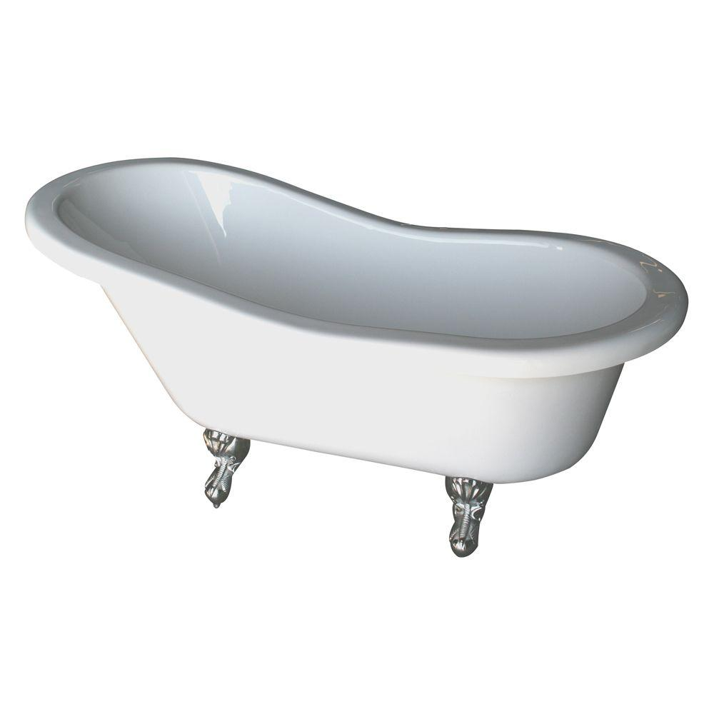 Barclay Products 5 6 Ft Acrylic Claw Foot Slipper Tub In White With Polished Brass Feet Tub Polished Chrome Clawfoot Bathtub