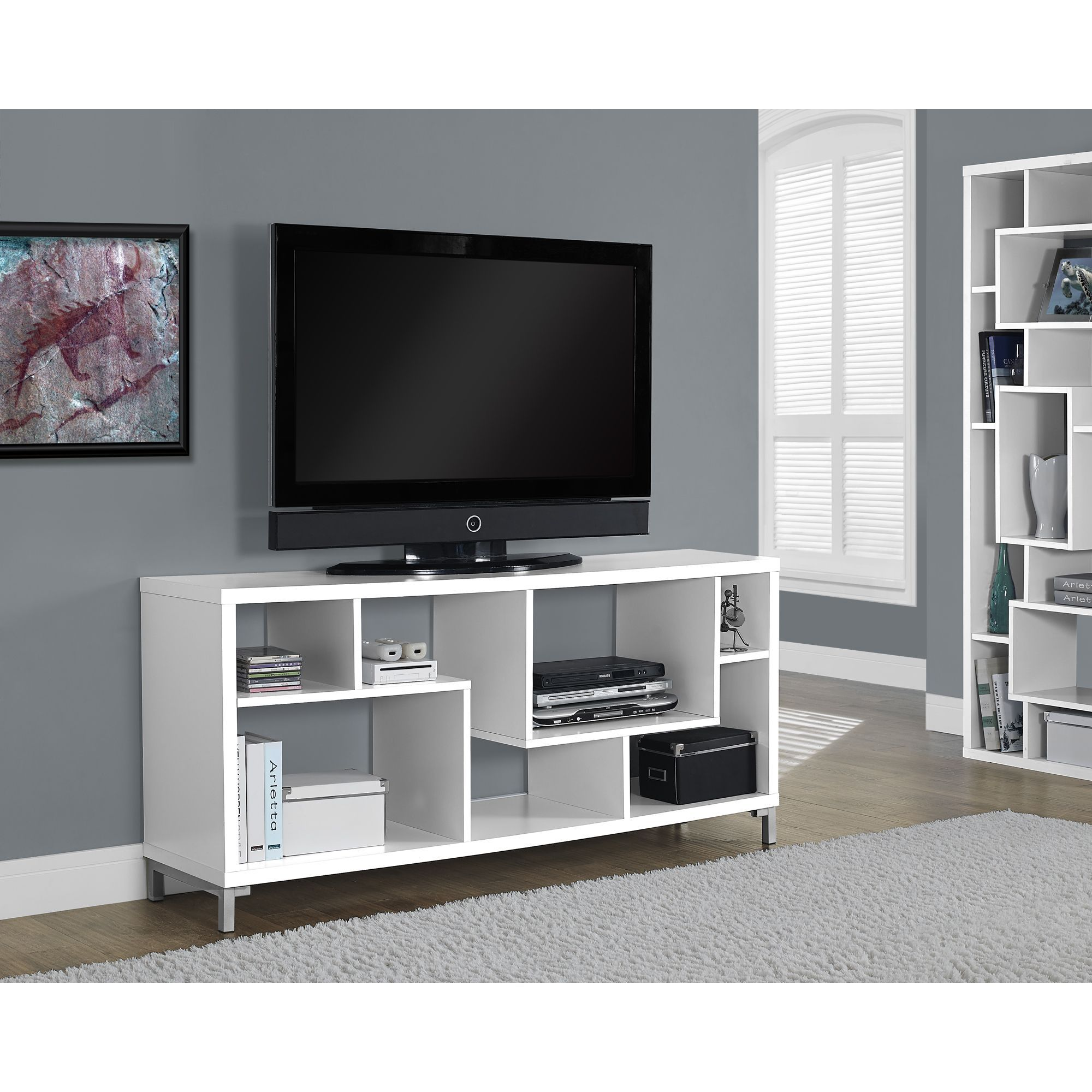 White Hollow core TV Console Overstock Shopping