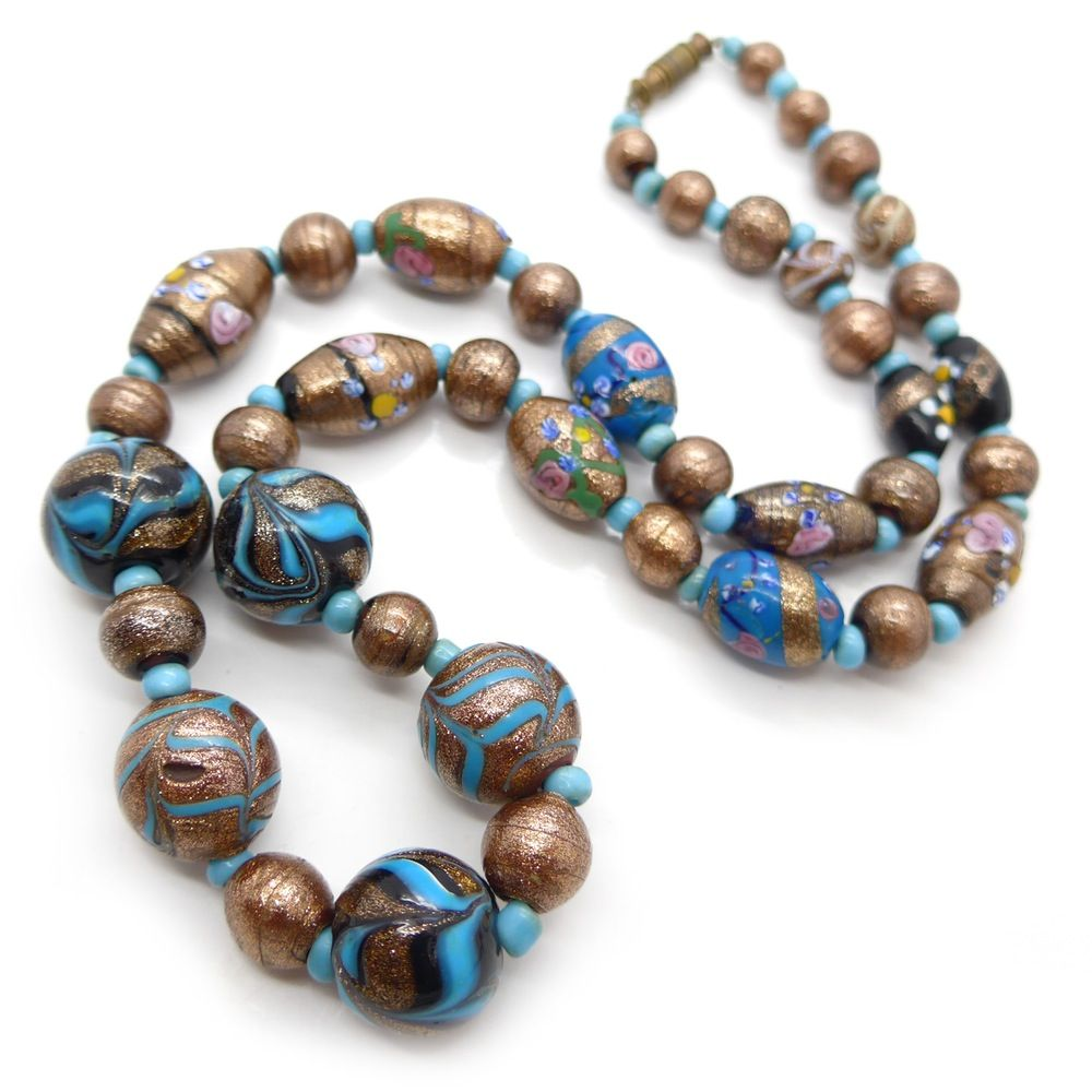 antique edwardian venetian aventurine blue fancy rose glass bead necklace clarice jewellery vintage costume