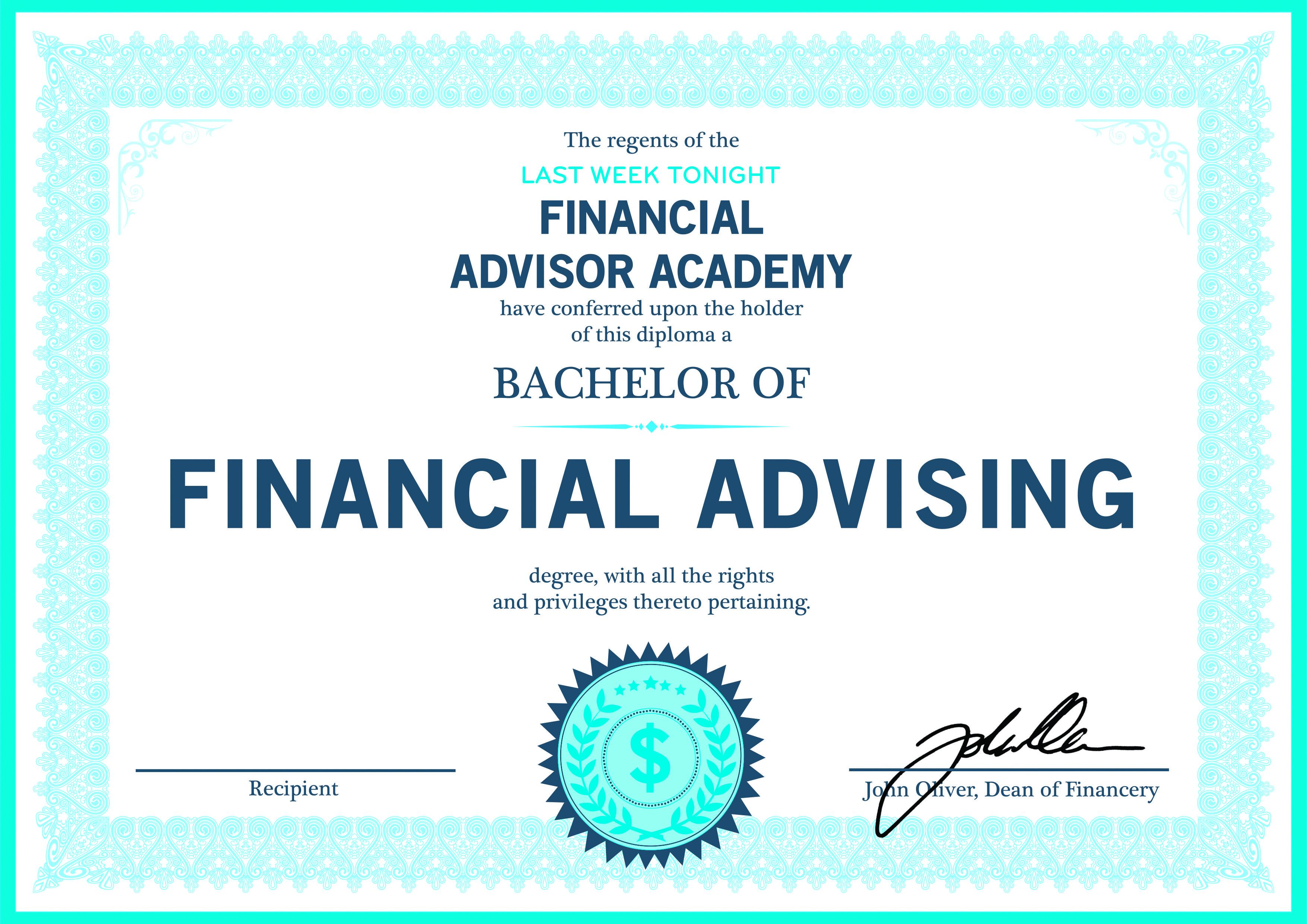 Hbo Lastweektonight Offers Print Your Own Financial Advisor