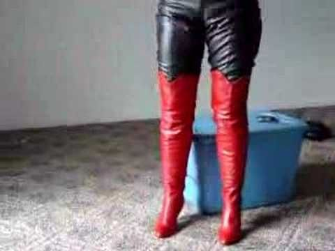 Putting on Red Thigh High Boots - http://www.shoesgreat.com/hot ...