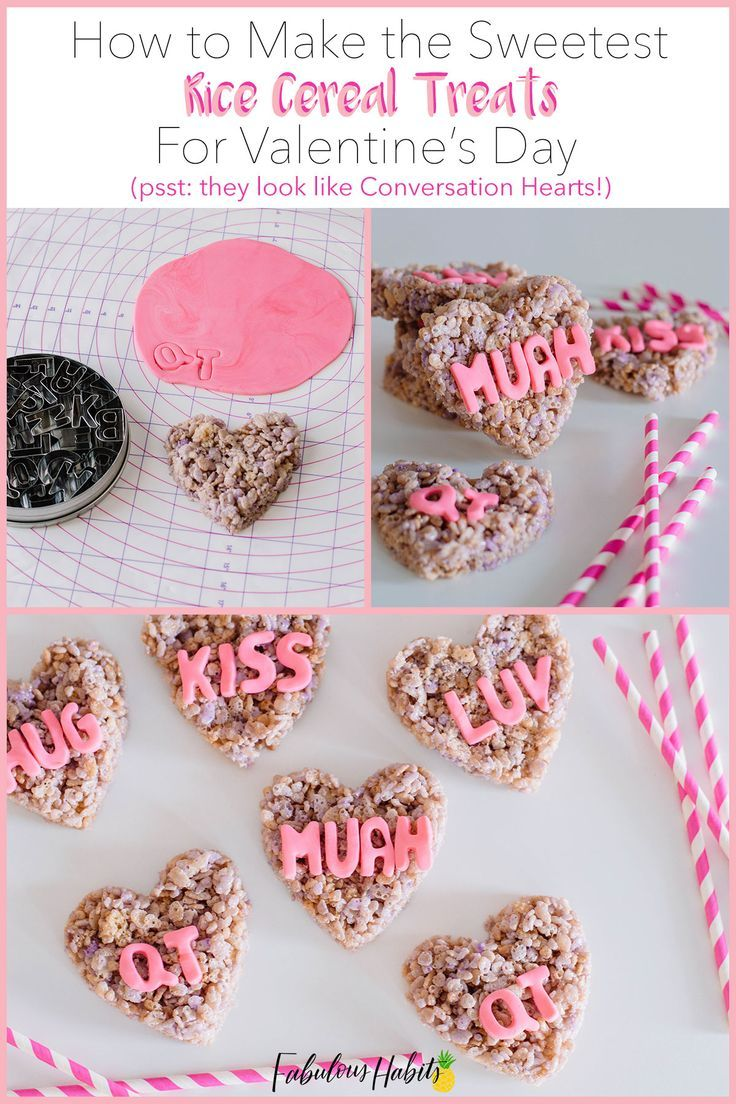 Rice Cereal Treats Conversation Hearts | Recipe in 2020 ...