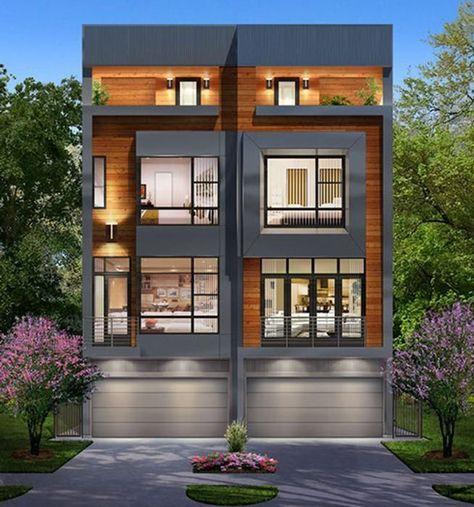3 1 2 Story Duplex Townhouse Plan E4050 Townhouse Designs House Designs Exterior Narrow House Designs