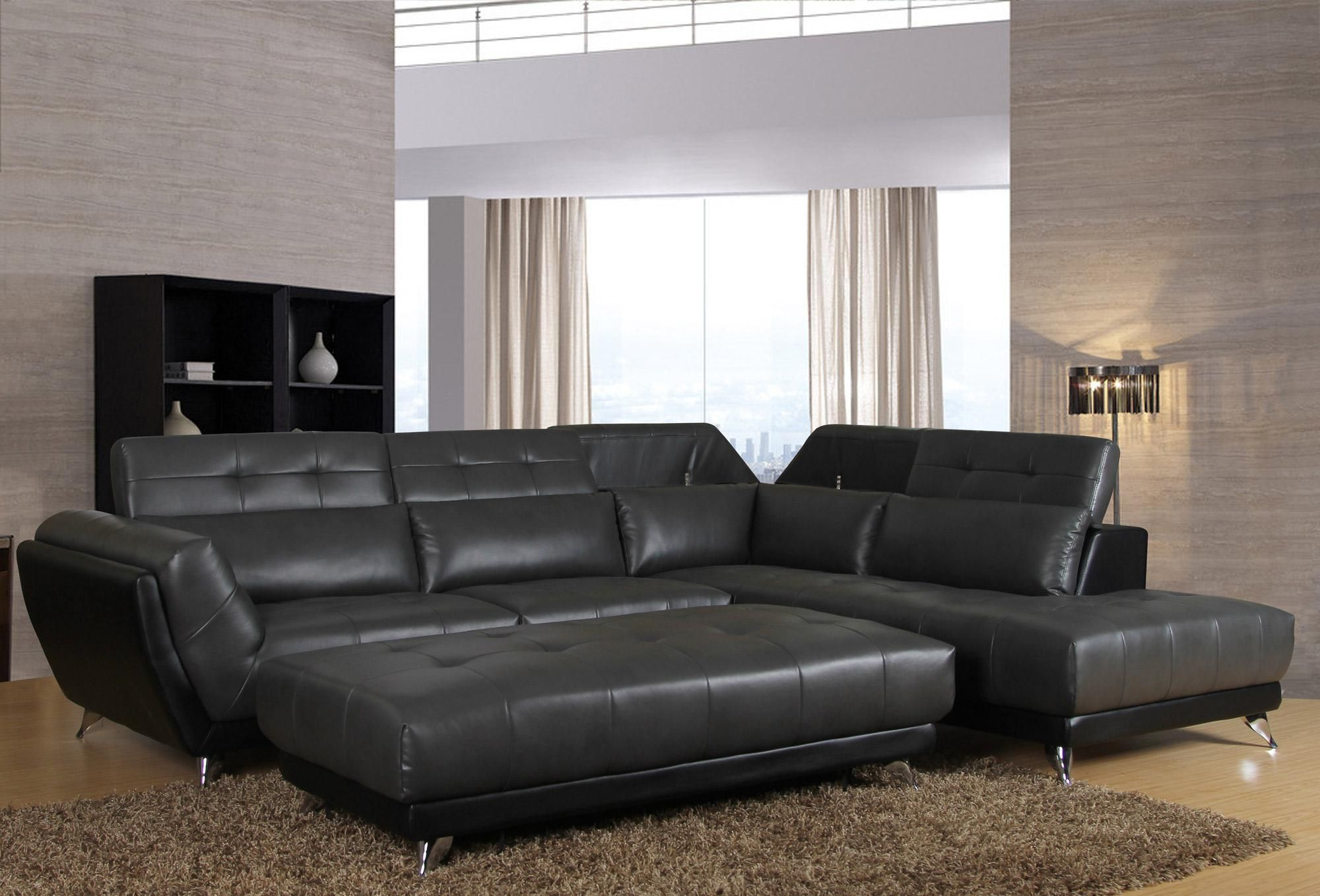 "Mars"" Seal & Black Upholstered 2 Piece Sectional"