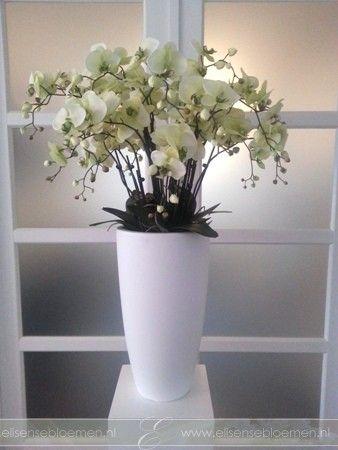 Grote vaas met zijden Orchideeën - Elisense Bloemen   Silk flowers ...