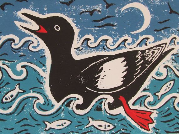 Black Guillemot Lino Print by DarkPeakPrints on Etsy, £18.00