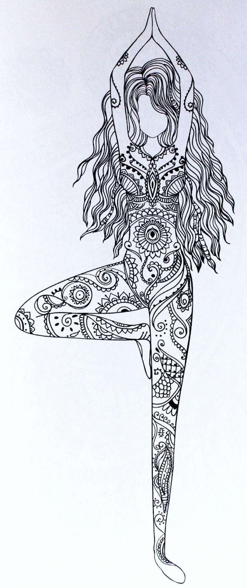 mujer en mandala para colorear