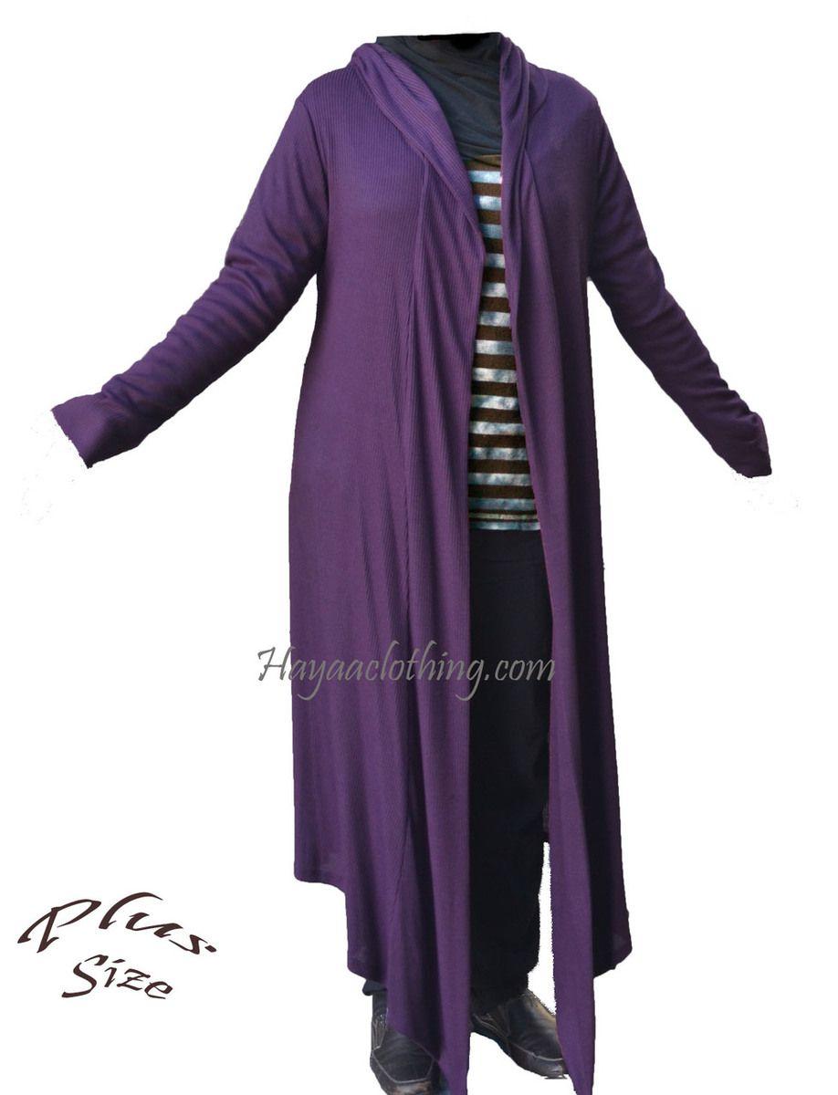 Plus Size Long Ribbed Cardigan Sweater - XL 2XL 3XL - Purple (http ...