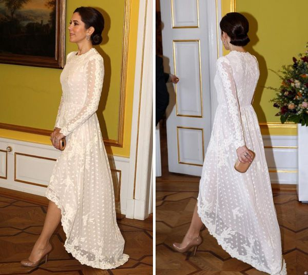 H M Conscious Collection White Embroidered Dress Crown Princess Mary Wore This On A Gala For State Visit In April 2017
