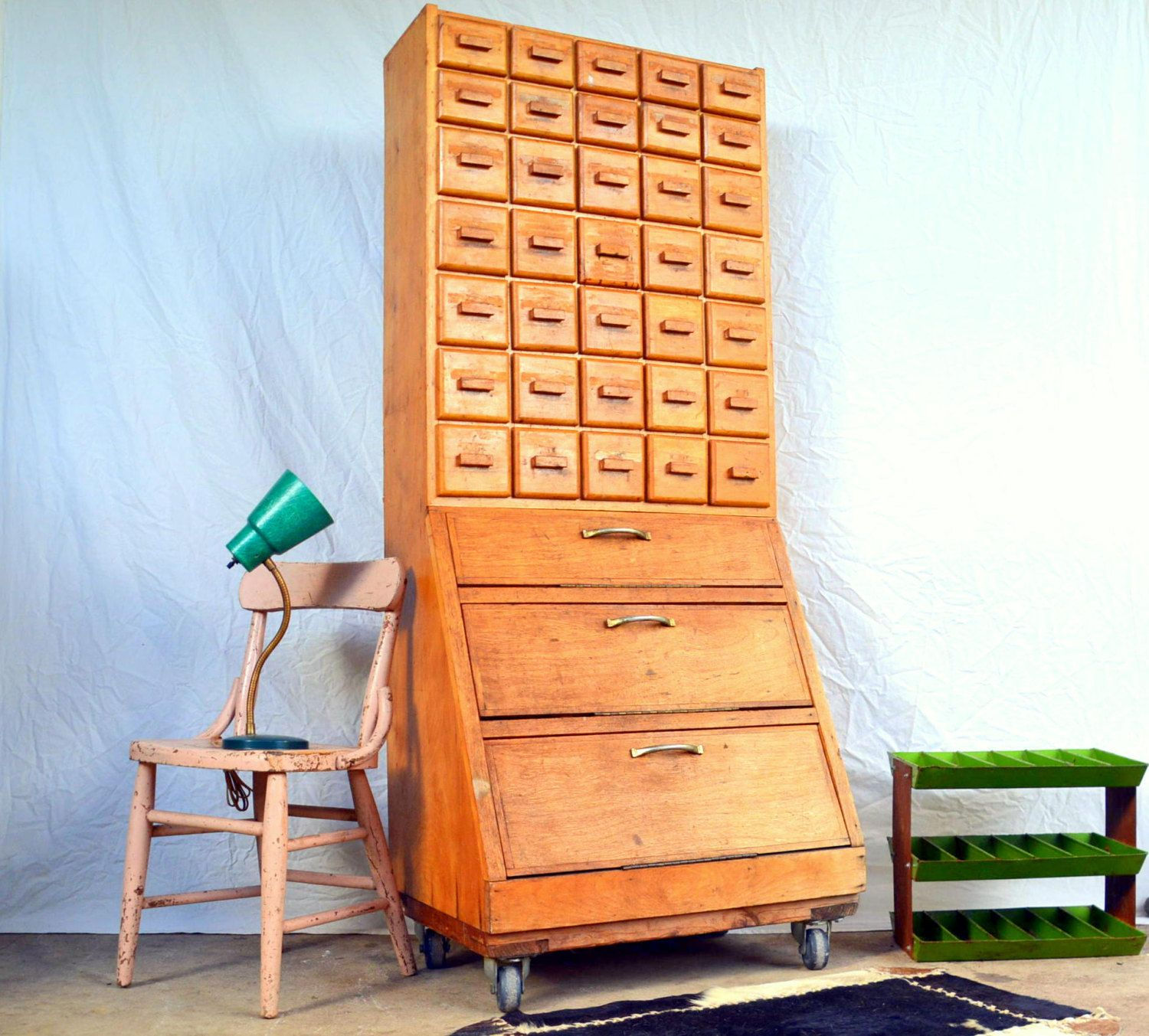 Vintage Handmade Apothecary Parts Bin Cabinet by MerlesVintage on