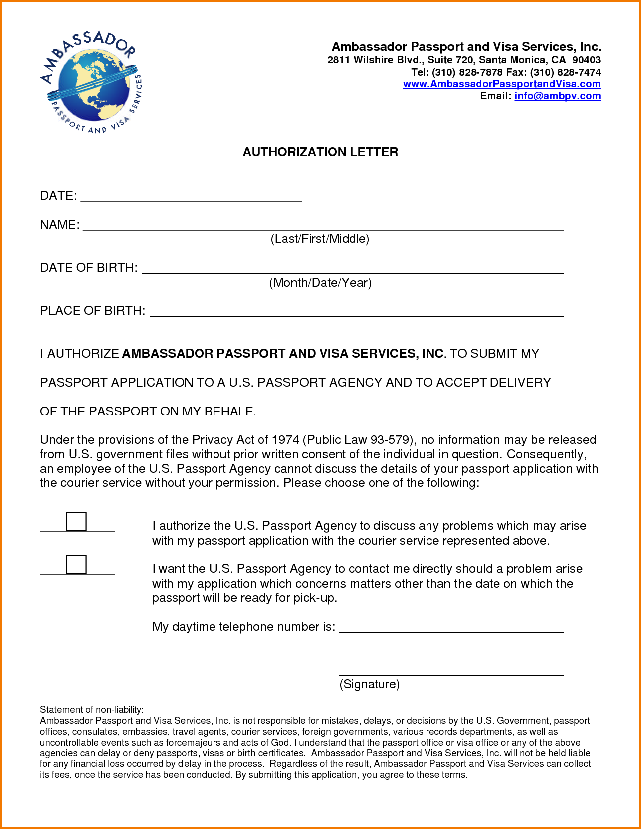Passport Authorization Letter Pdf Sample Printable Formats  Home