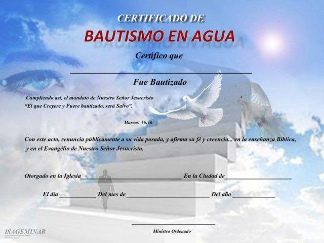 Certificados Para Bautismos PROYECTO CERTIFICADO Pinterest