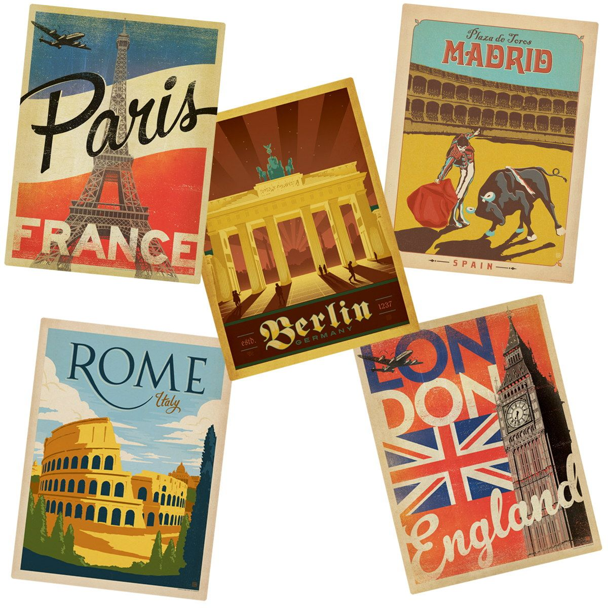 This set of 5 international travel stickers includes london england paris france berlin germany madrid spain and rome italy printed on glossy
