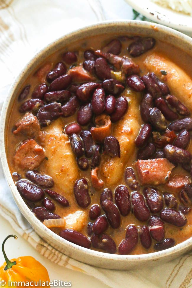 jamaican red stewed beans with cubed beef  spinners