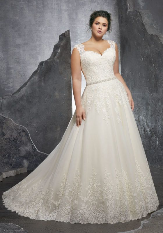 80eb392f675b Morilee Bridal Embroidered Lace Bodice Edged with Beading on Tulle Wedding  Dress