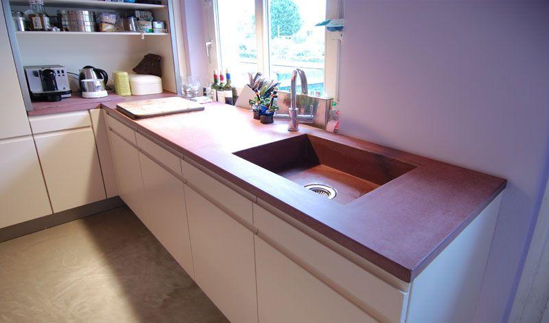 farbige Küchenarbeitsplatte aus Beton | farbiger Beton ...