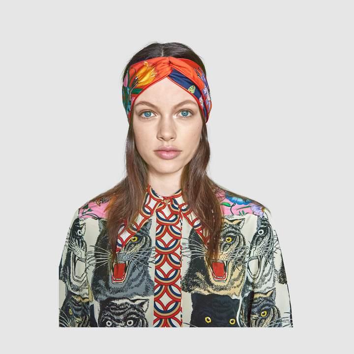79b3679efc3 Gucci Flora Snake print headband