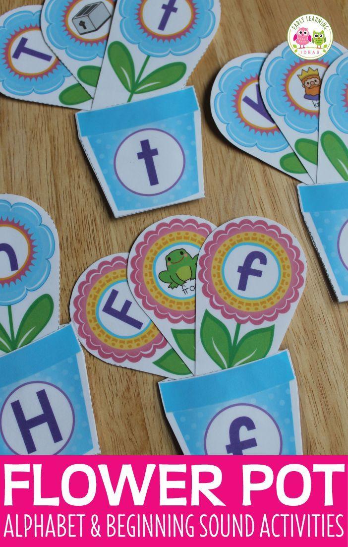 Flower Pot Alphabet and Beginning Sound Matching Activity | Morning ...
