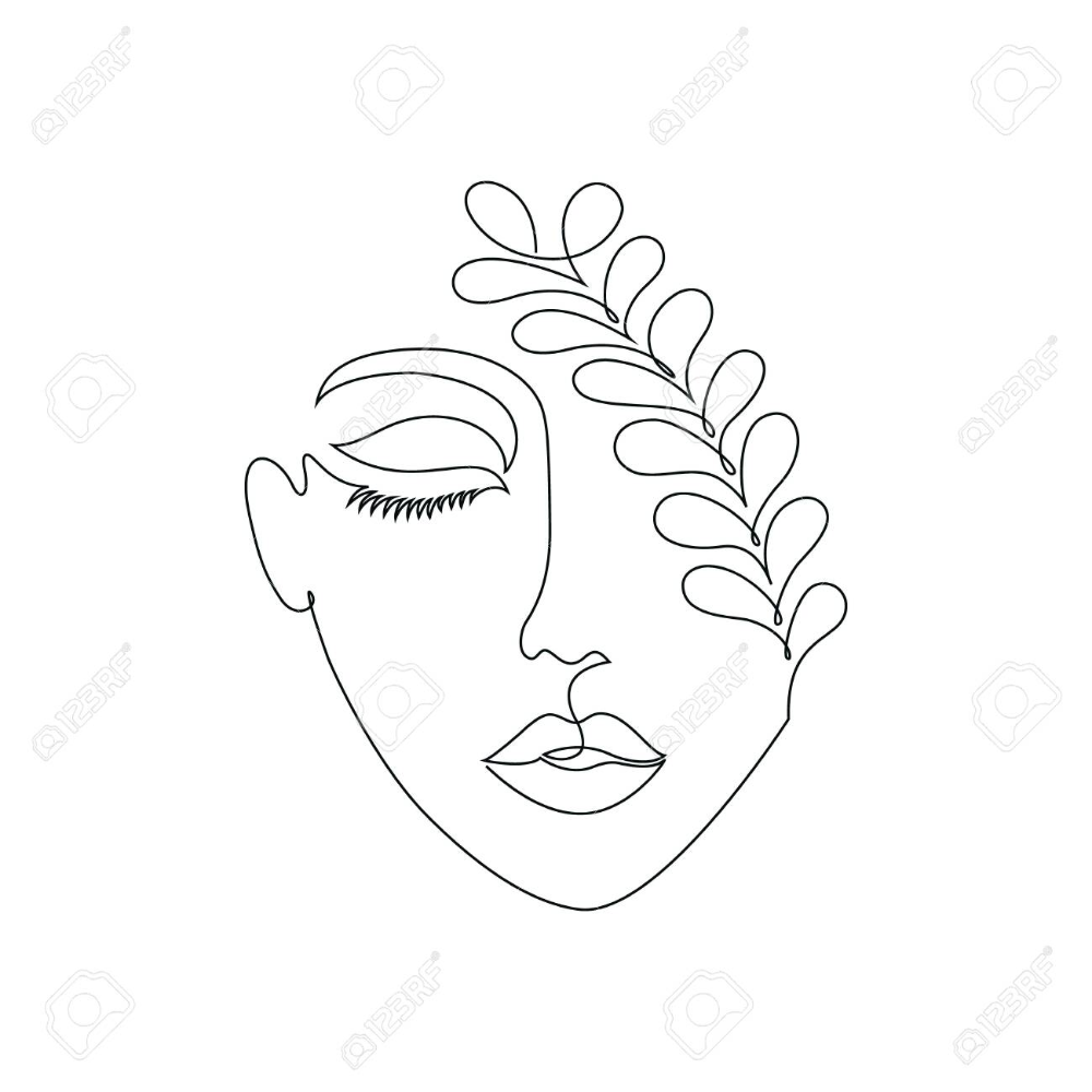 Woman on white background.One line drawing style.Tattoo idea.