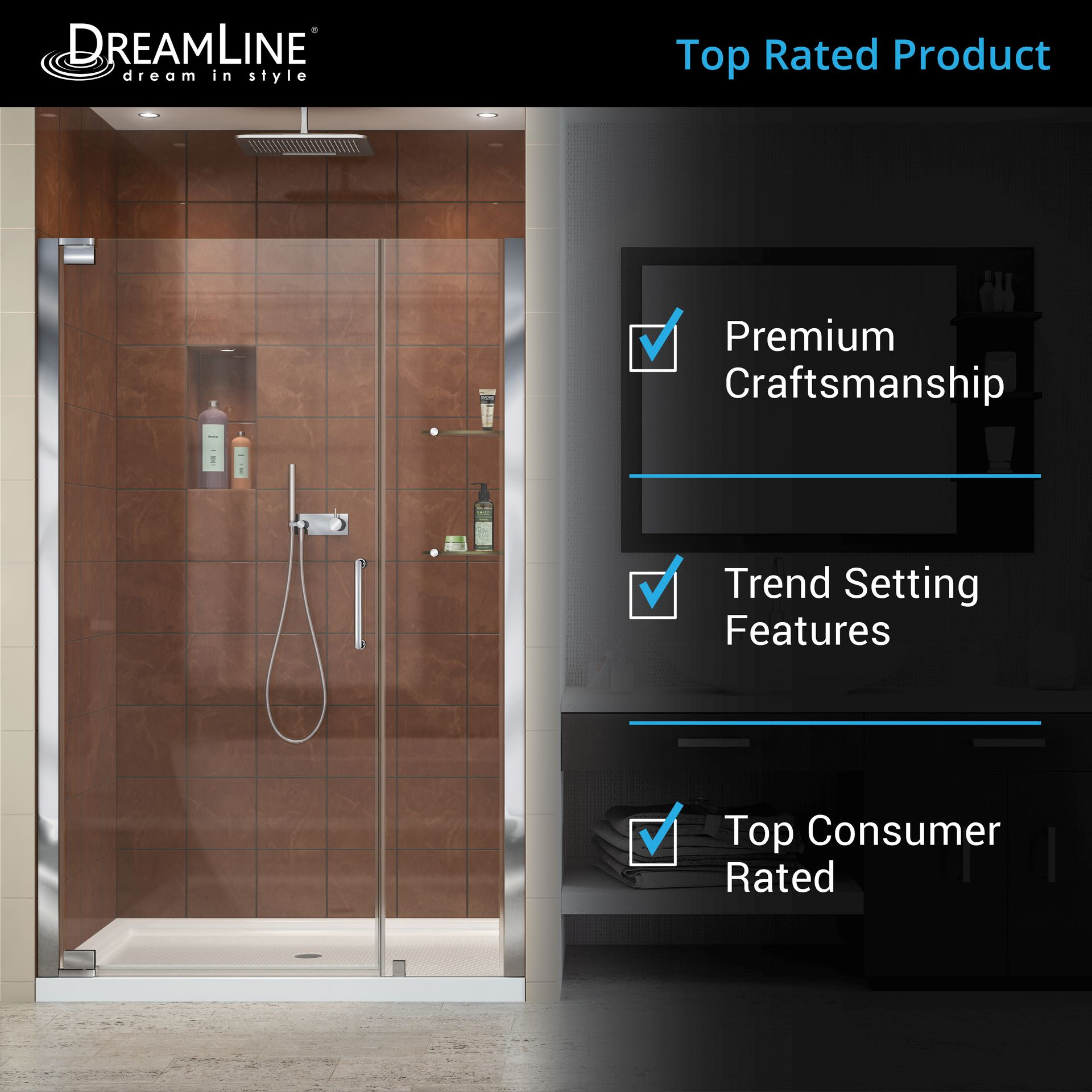 Dreamline Elegance 46 In To 48 In W Frameless Pivot Brushed Nickel