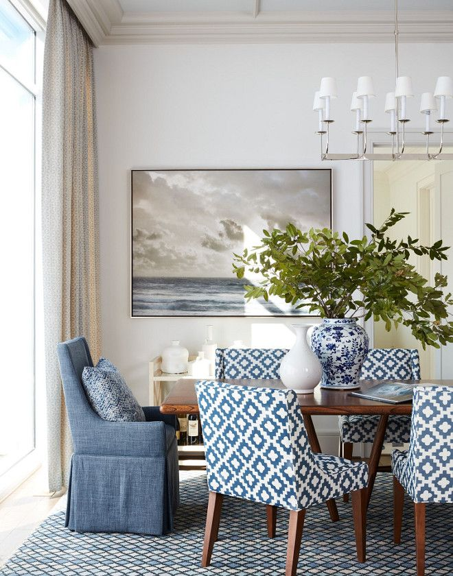 Wall Paint Color Is Paper White By Benjamin Moore Trim Paint Color Benjamin Moore 968 Dune Whi Dining Room Blue Beautiful Dining Rooms Traditional Dining Room