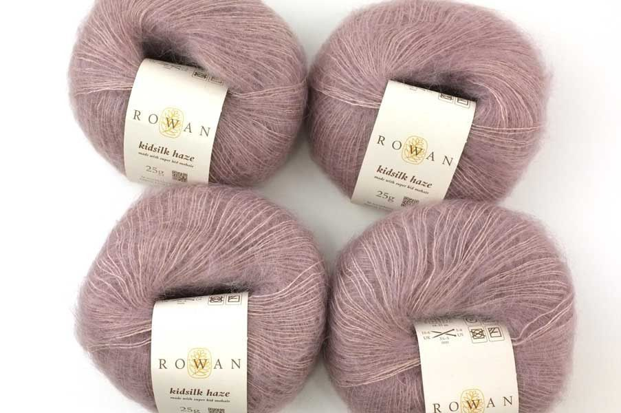 Rowan Kidsilk Haze color Agra 672 softened mauve, mohair, silk yarn