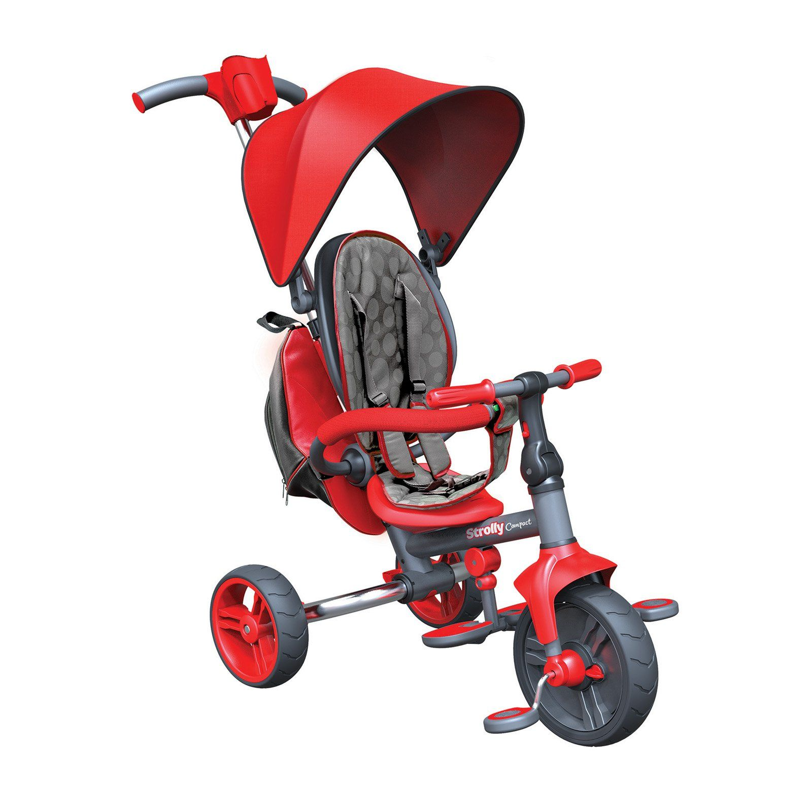 Strolly Compact Stroller and Tricycle Combo with Push
