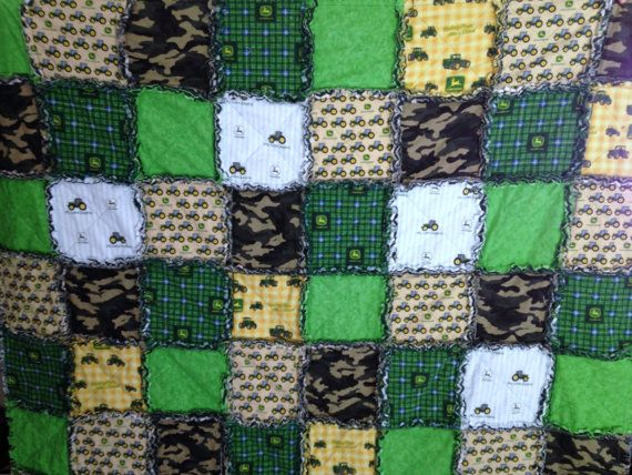 John Deere Rag Quilt Tractor 58 X 58 Cotton by nanaswoolies