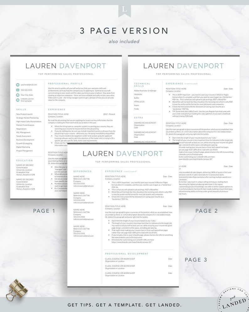 Sales & Marketing Resume Template for Word and Pages