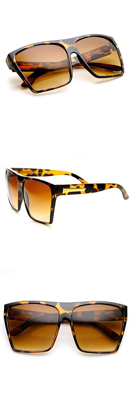 6cbbf2f7ee ZeroUV - Large Oversized Retro Fashion Square Flat Top Sunglasses (Tortoise)