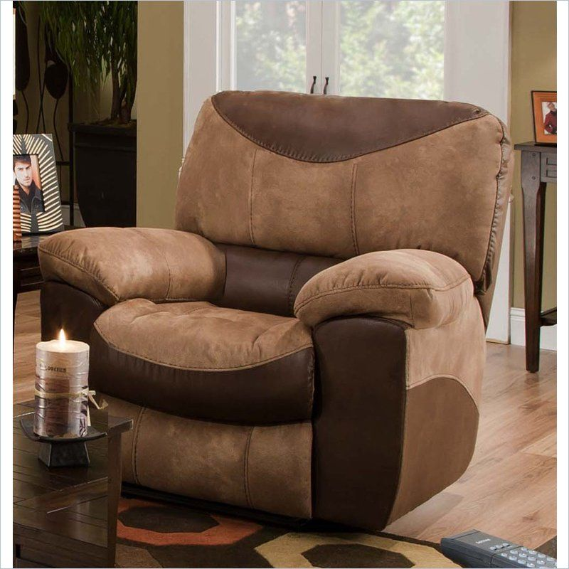 Portman Chaise Rocker Recliner In Two Tone Chocolate And