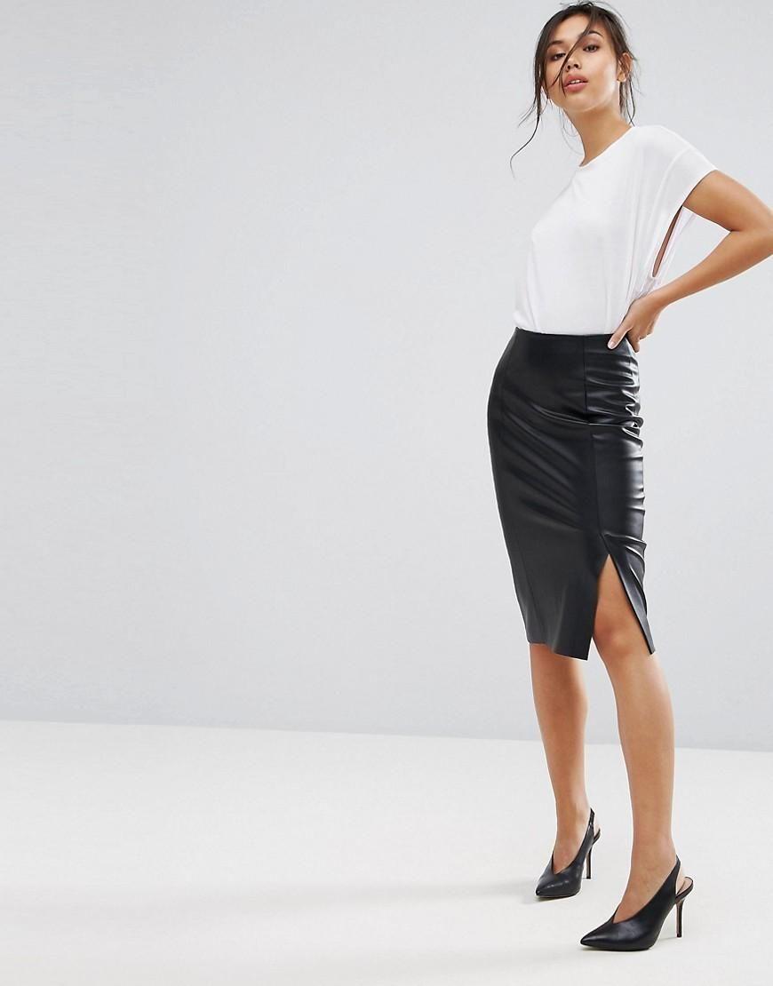 8d9ff9186ba73  ASOS -  Warehouse Warehouse Faux Leather Pencil Skirt - Black - AdoreWe.com