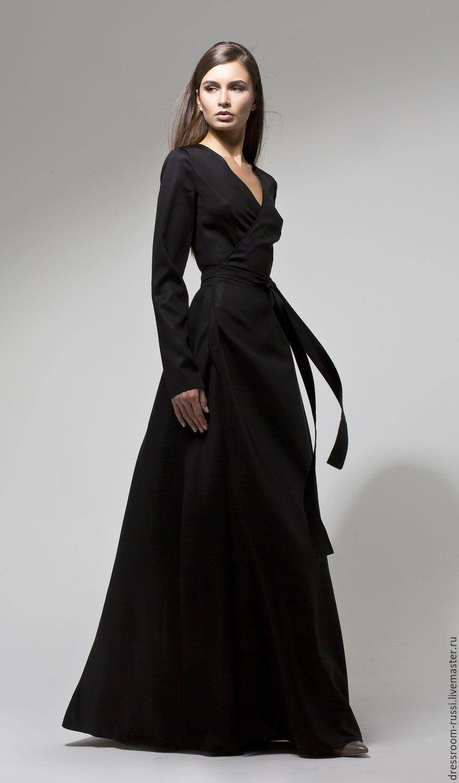 88ac6cf5891a Long silk dress   Купить Платье на запах в пол из шелка - черный,  однотонный, черное платье, платье в пол