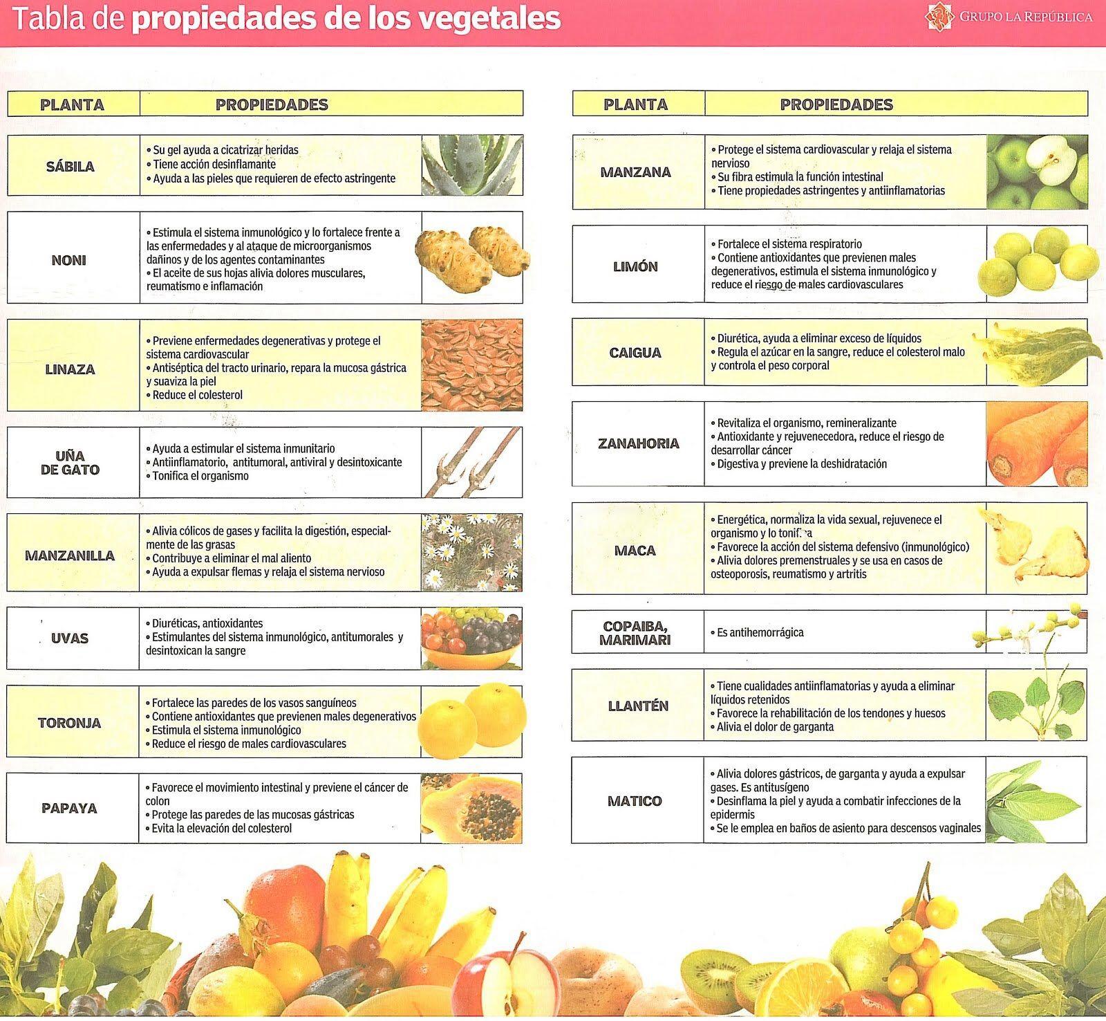 Tabla De Alimentos Y Sus Propiedades Vegetales Frutas Y Verduras Tablas De Alimentos