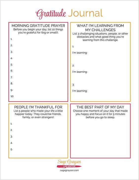 Free Printable Gratitude Journal  Gratitude Bible And Inspirational