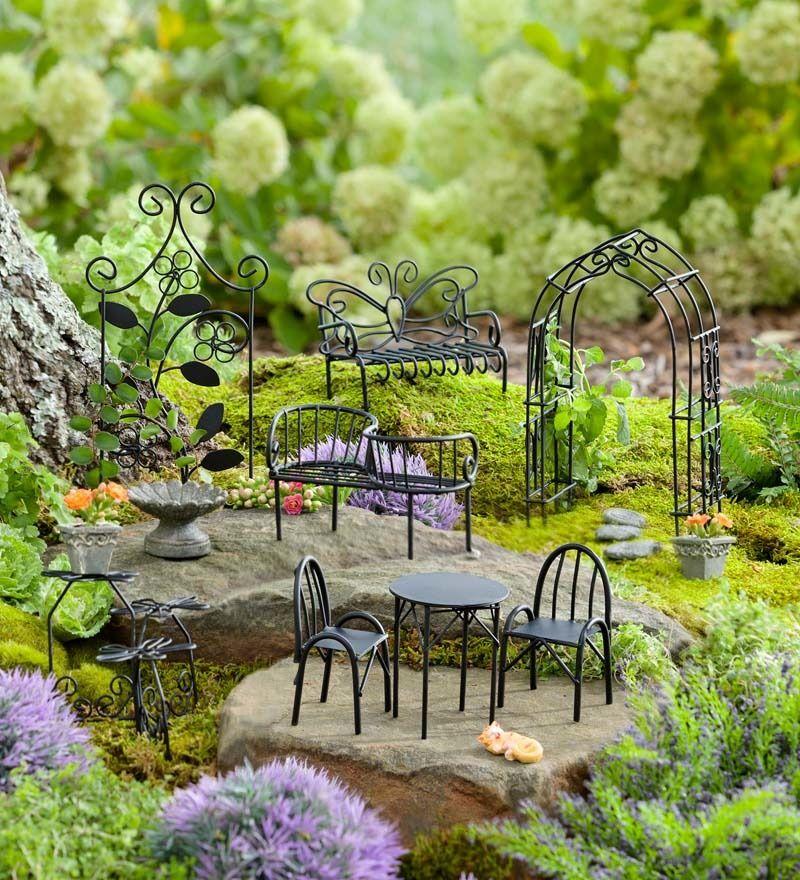 Exceptionnel Miniature Fairy Garden Metal Furniture Set
